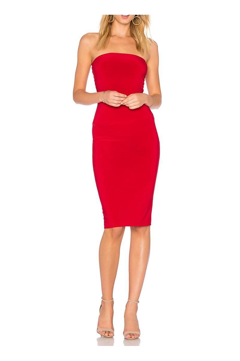 Norma kamali women 39 s strapless dress to knee red - Norma kamali costumi da bagno ...