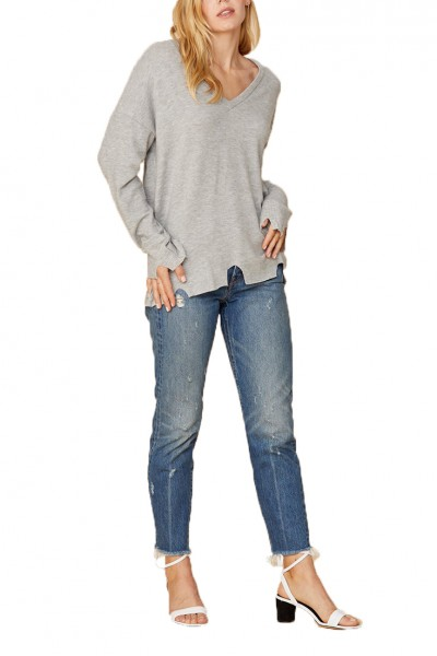LNA - Women's Brushed Bitten Sweater - Heather Grey