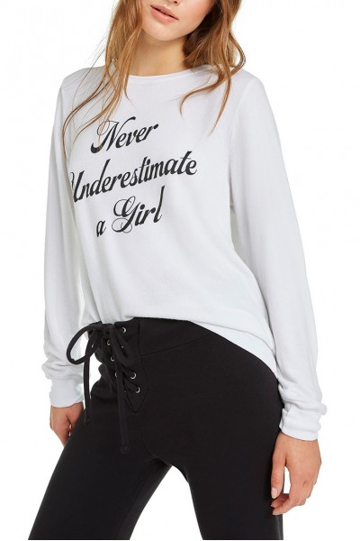 Wildfox - Never Underestimate A Girl Baggy Beach Jumper - Clean White