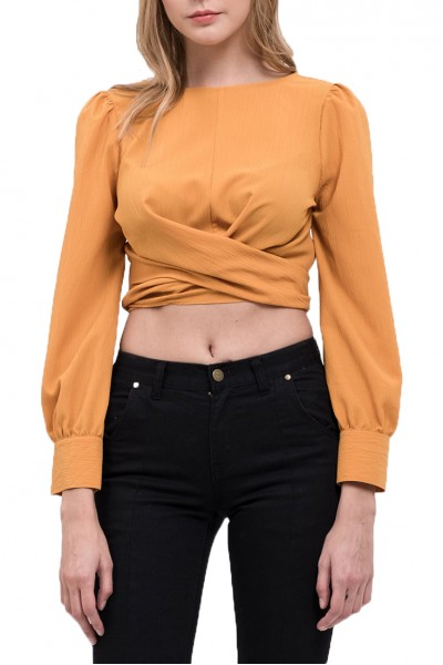 J.O.A. - Women's Open Back Wrap Top - Marigold