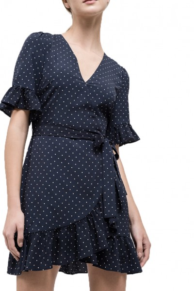 J.O.A. - Women's Ruffle Wrap Dress - Navy Dot