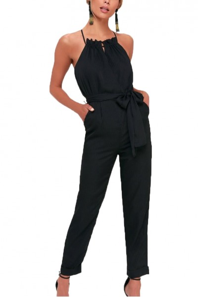 J.O.A. - Women's Soiree Black Striped Cross Back Halter Jumpsuit - Black Stripe