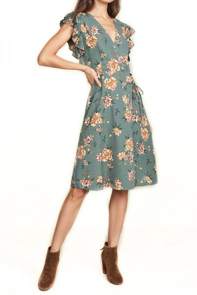 J.O.A. - Women's Floral Midi Dress - Green Floral