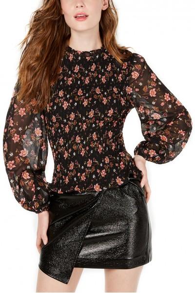 J.O.A. - Women's Blouson-Sleeve Top - Black