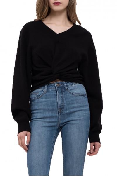 J.O.A. - Women's Twist Front Knit Top - Black