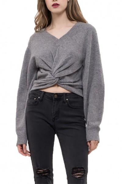 J.O.A. - Women's Twist Front Knit Top - Grey