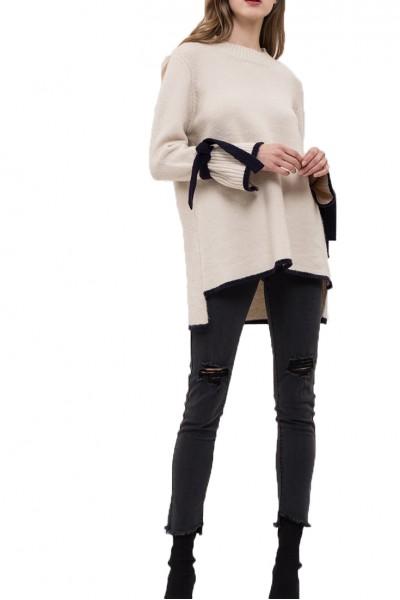 J.O.A. - Women's Colorblock Hem Tie Sleeve Sweater - Cream