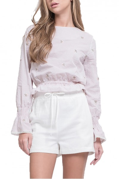 J.O.A. - Women's Embroidered Ruffle Hem Top - Pink Ivory Stripe