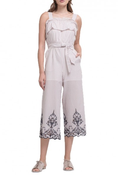 J.O.A. - Women's Embroidered Tie Waist Jumpsuit - Pink Embroidered Stripe