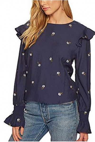 J.O.A. - Women's Embroidered Blouson Sleeve Top - Navy
