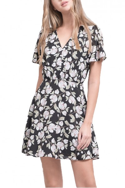 J.O.A. - Women's Floral Printed Button Down Fit And Flare Dress - Black Floral