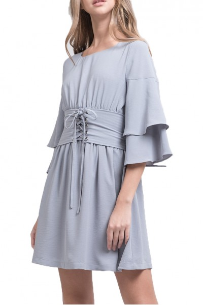 J.O.A. - Women's Tiered Sleeve Corset Dress - Ice Blue