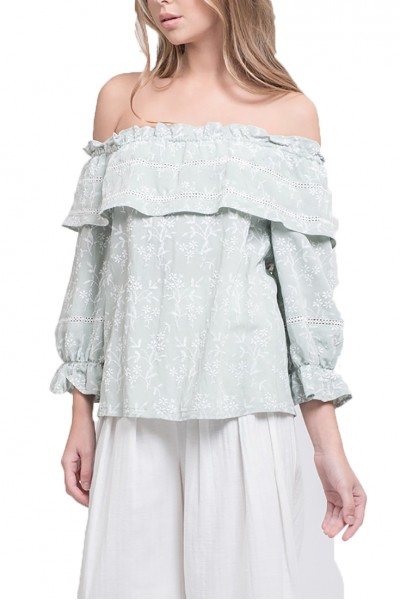 J.O.A. - Women's Off The Shoulder Top With Blouson Sleeve - Mint