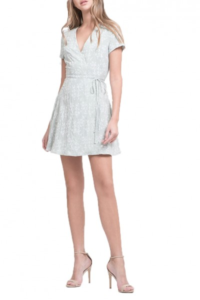 J.O.A. - Women's Fit And Flare Wrap Dress - Mint