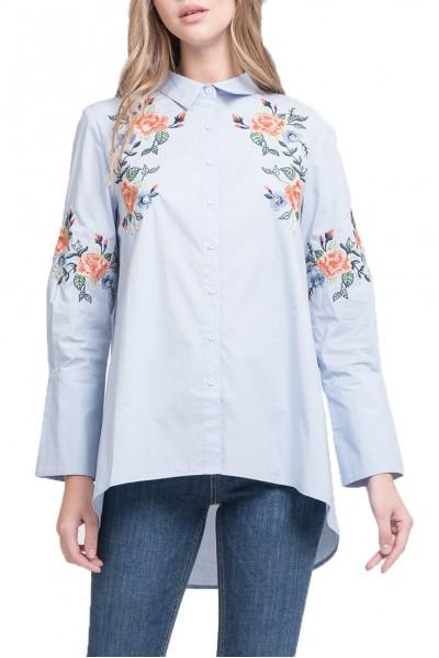 J.O.A. - Women's Embroidered Hi Lo Shirt - Sky