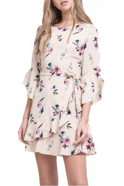 J.O.A. - Women's Long Sleeve Faux Wrap Dress With Flared Hem - Cream Floral