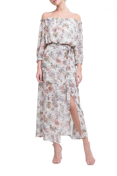 J.O.A. - Women's Printed Maxi Skirt With High Side Slit - Ivory Floral