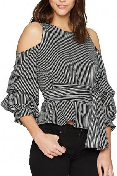 J.O.A. - Women's Cold Shoulder Top with Ruched Sleeve - Black Stripe