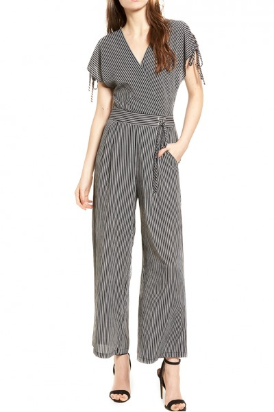 J.O.A. - Women's Striped Lace Up Jumpsuit - Black Stripe