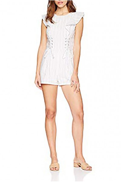 J.O.A. - Women's Crew Neck Romper with Corset Details and Ruffle at Sleeves - White Black