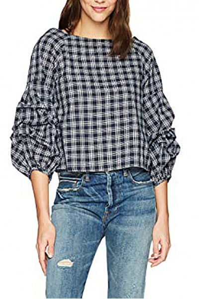 J.O.A. - Women's Tiered Sleeve Wide Neck Top - Navy White Plaid