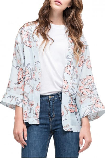 J.O.A. - Women's Floral Printed Kimono Cardigan - Mist Floral