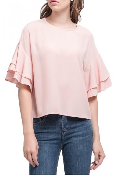 J.O.A. - Women's Ruffled Sleeve Top - Peach