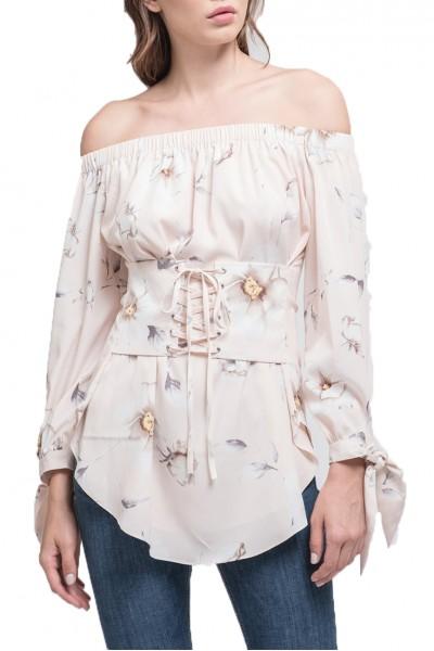 J.O.A. - Women's Off The Shoulder Corset Top - Blush Floral