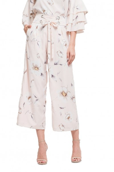 J.O.A. - Women's Wide Leg Pants With Corset Waist - Blush Floral