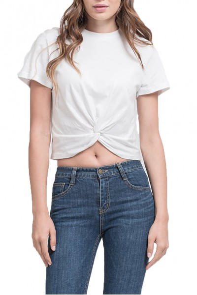 J.O.A. - Women's Twisted Front Short Sleeve Crop Tee - White