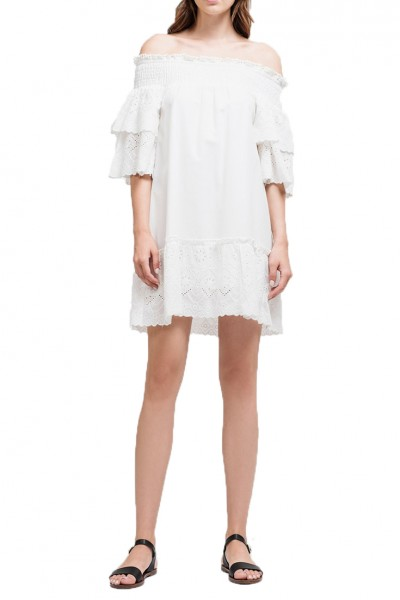 J.O.A. - Women's Off The Shoulder Eyelet Lace Dress - White Eyelet