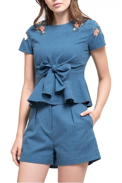 J.O.A. - Women's Embroidered Tie Front Top - Chambray
