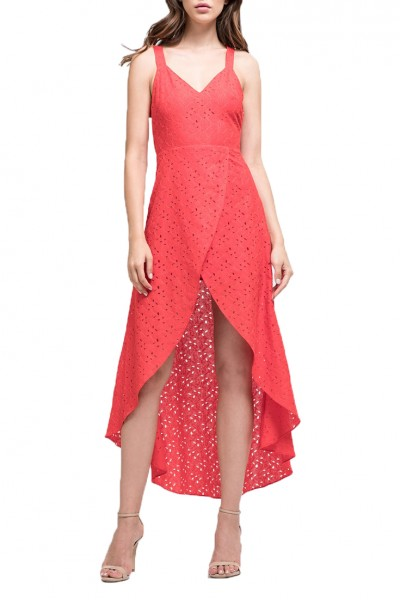 J.O.A. - Women's Lace Tulip Hem Open Back Dress - Red Lace