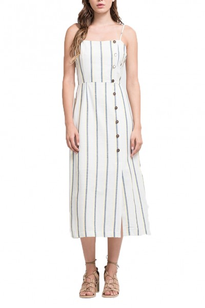 J.O.A. - Women's Button Down Maxi Dress - Yellow Stripe