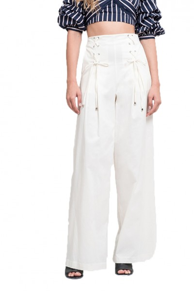 J.O.A. - Women's Lace Up Detail Wide Pants - Cream