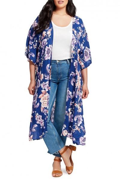 J.O.A. - Women's Side Slit Blue Floral Print Kimono Cardigan - Cobalt Floral