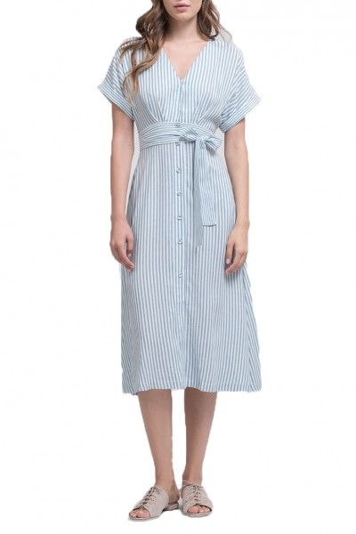 J.O.A. - Women's Button Down Wrap Midi Dress - Sky Stripe
