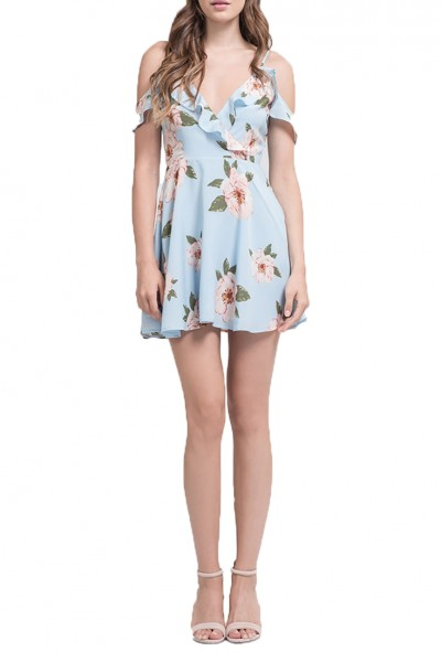 J.O.A. - Women's Ruffle Cold Shoulder Fit And flare dress - Sky Floral