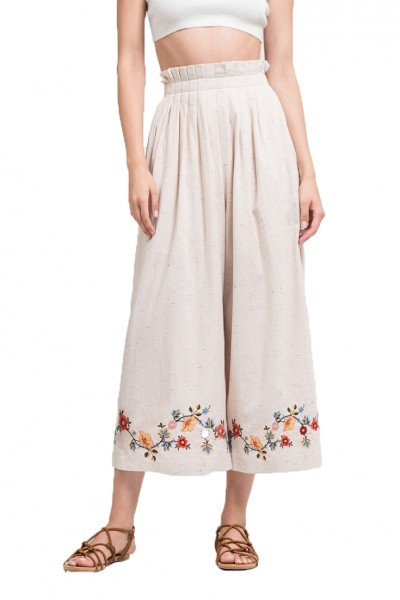J.O.A. - Women's Embroidered Pleated High Waist Pants - Natural