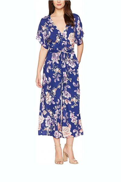 J.O.A. - Women's V Neck Short Sleeve Open Back Floral Print Jumpsuit - Cobalt Floral