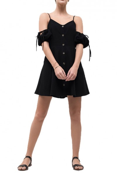 J.O.A. - Women's Cold Shoulder Button Up Dress - Black