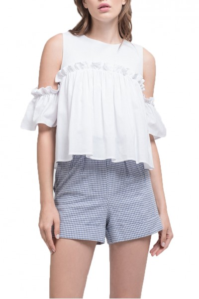 J.O.A. - Women's Cold Shoulder Top With Ruffled Sleeves - White