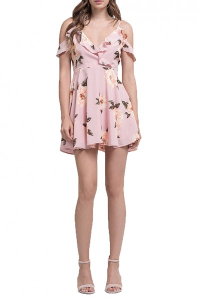 J.O.A. - Women's Ruffle Cold Shoulder Fit And flare dress - Rose Floral