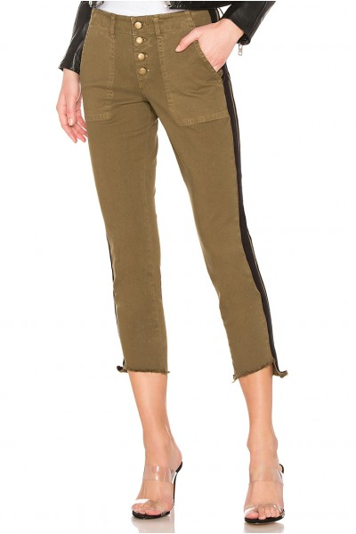 Pam And Gela - Women's P 19 Step Hem Pant With Double Stripe - Winter Mosses