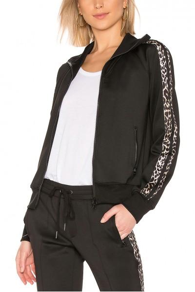 Pam And Gela - Women's R 19 Leopard Stripe Track Jacket - Black