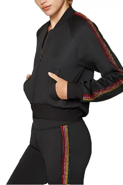 Pam And Gela - Women's H 18 Croppped Track Jacket With Stone Rainbow - Black
