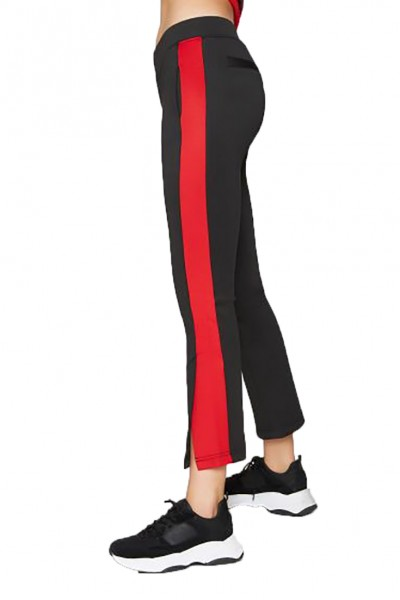 Pam And Gela - Women's H 18 Cropped Flare Pant With Red Stripe - Black
