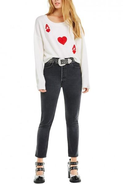 Wildfox - Queen Of Hearts Claude Sweater - White