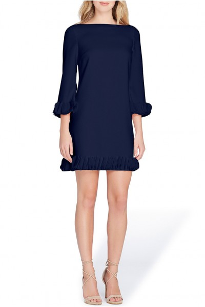 Tahari - Women's Embellished Sleeve And Cuff Dress In Crepe Chiffon - Navy