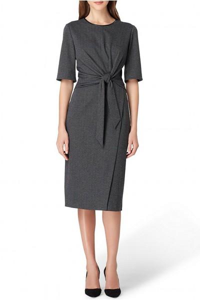 Tahari - Women's Round Neck Faux Wrap Dress - Charcoal